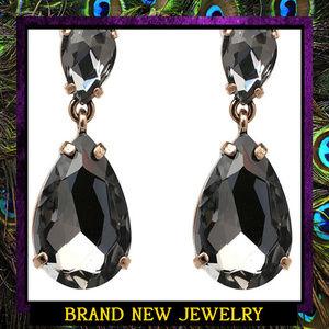 Large Black Crystal Drop Earrings #443
